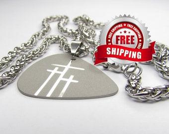 Guitar Pick Necklace Silver 3 Crosses of Calvary Triple Crosses Pendant Heavy Chain Mens Boys Christian Jewelry jewellery