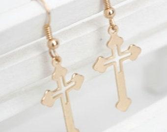 Gold Cross Dangle Earrings Super Light Weight Cross Cut Out Drop Elegant Womens jewelry girls jewellery