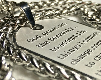 Raised Lettering Serenity Prayer Necklace Dog Tag Silver Gold Thick Chain Exclusive Design Pendant for Mens Boys Christian Jewelry Jewellery