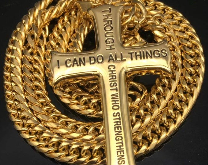 Featured listing image: Large I can do all things Cross heavy chain Necklace Philippians 4:13 through christ who strengthens me Pendant for men Stainless Steel