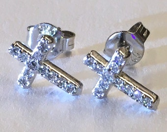 Silver Cross Earrings Stud Super Tiny Dainty Petite with Crystal Inlaided Rhinestones Wedding for Girls jewelry bridesmaids jewellery