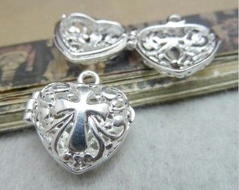 Cross Heart Perfume Silver Locket Necklace Filigree Heart Hinged Open Cast Design Aromatherapy Essential Oils Perfume Diffuser Locket