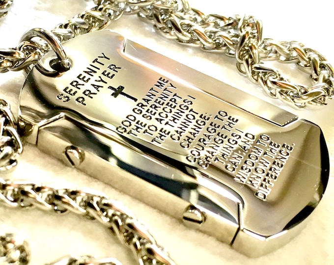 Featured listing image: Serenity Prayer Necklace Dog Tag Heavy Silver Black Gold Super Thick with Chain Crazy Design Pendant for Mens Boys Christian Jewelry