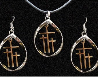 Infinity Necklace Cross Hoop Earrings Twist Silver Gold Calvary 3 Crosses of Calvary Christian Cross of Jesus Religious Jewelry jewellery