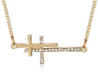 Gold Sideways Cross Necklace Horizontal Cross Gold or Silver Dainty Double Crosses Rhinestone Cross Pendant Jewellery Cross of Jesus Jewelry