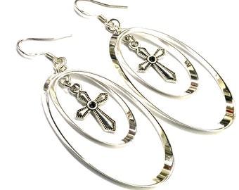 Cross Hoop Earrings Silver Dangle Necklace and Earrings Set Double Twist Long Drop Womans Girls Christian Jewelry Jewellery Cross of Christ