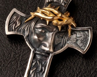 Gothic Crucifix Cross Necklace Head of Thorns Silver Link Stainless Steel Chain Thick Braided Headress Jewelry Boys Jewellery Cross of Jesus