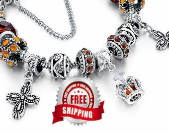 Cross Bracelet Silver Boho Bohemian Charm Amber Color High Quality Best Price Jewelry for Women Cheap Jewellery for Girls Christian Jewelry