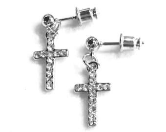 825485db7 Silver Cross Earrings Dainty Drop Dangle Cross Studs Rhinestone Cast CZ  Look Post Design Elegant Womens jewellery Girls jewelry jesus