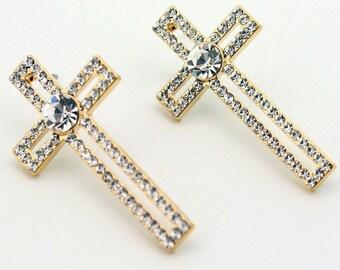 Gold Cross Earrings CZ Weddings Hollow Crosses Stud Dangle Women Girls jewelry jewellery