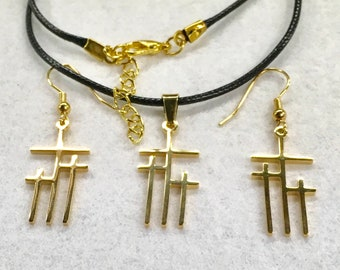 3 Crosses of Calvary Necklace and Earrings Petite Pendant Petite Earrings Gold Silver Mens Boys Women Girls Christian Jewelry jewellery