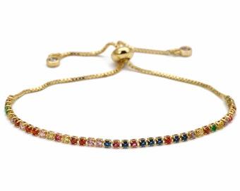 Rainbow Bracelet slide lock multi color jewels Chakra cuff bangles jewelry cz zircon slip lock snake chain fully adjustable jewellery