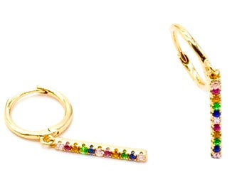 Stud Bar Earrings Rainbow Dangle Multi Color CZ Crosses Small for Women Girls Best Price Weddings Cheapest Bridesmaid jewellery jewelry