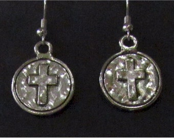Silver Earrings Raised Cross and Necklace Cast Round Ancient World Prayer Cross Pendant for Woman Girls Wedding Christian Jewelry jewellery