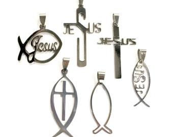 Cross Necklace Cut Jesus for Men Silver Fish Boys High Gloss Polished Pendant Ichthus Ichthys Greek Fish Outline Jesus Jewelry Jewellery