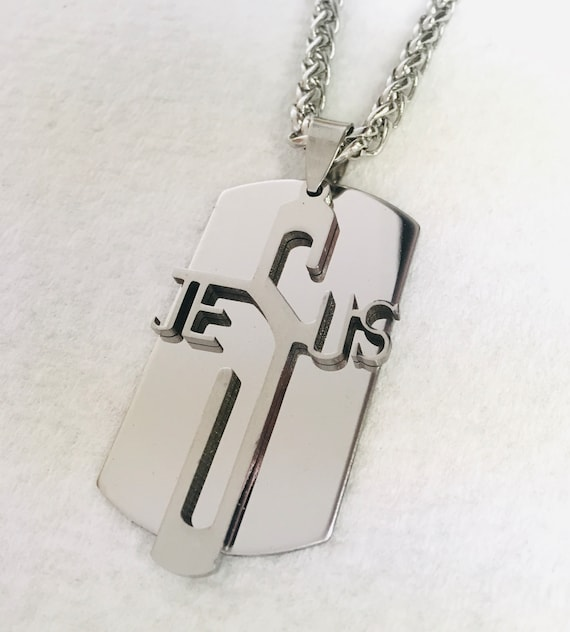 Cross Dog Tag Jesus Cut Necklace for Men Silver Long Jesus Cut Out Pendant Stainless Steel Mens Boys Christian Jewelry jewellery