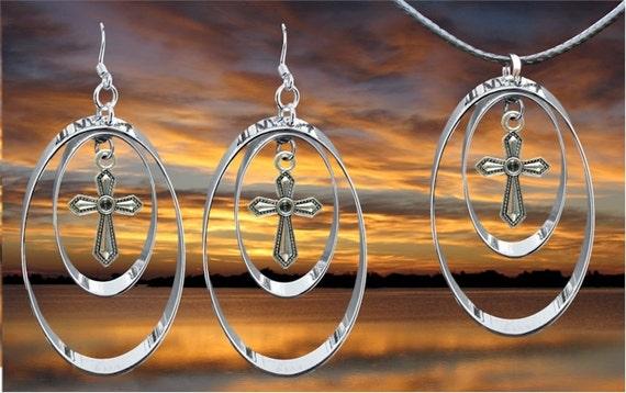 Silver Double Hoop Cross Earrings Necklace Pendant Set Drop Dangle Womans Girls Christian Jewelry - Saint Michaels Jewelry