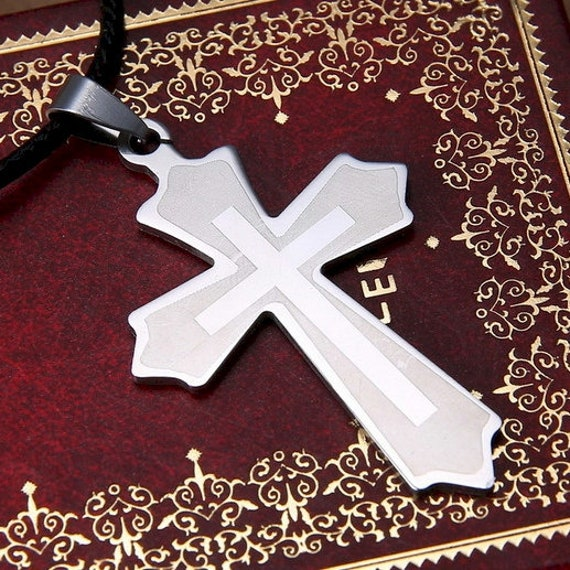 New Fashion Inner Cross Etched Stainless Classic Cross Silver Necklace Men Woman Chain Christian Jewelry