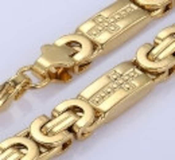 Byzantine Cross Necklace Chain Stamped Cross Links Jewelry for Mens Super Heavy Wedding Chain Christian Jewelry jewellery