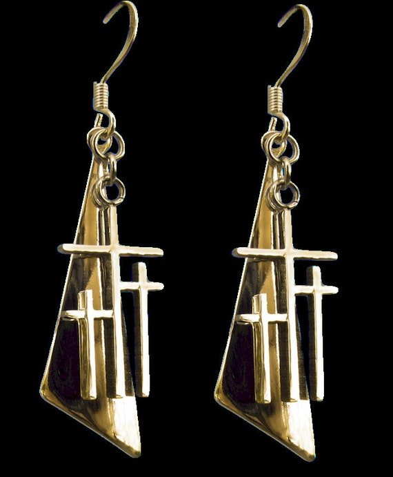 Gold Calvary 3 Cross Earrings Triangle Back Drop Dangle Womans Modern Christian Jewelry - Saint Michaels Jewelry - Calvary Three Cross