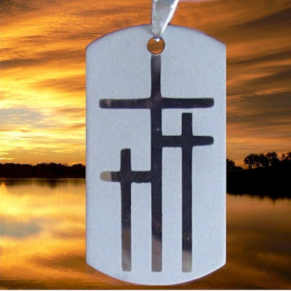 Medium Silver Calvary Three 3 Cross DogTag Pendant Heavy Chain Stainless Christian Jewelry - Saint Michaels Jewelry - Calvary Three Cross