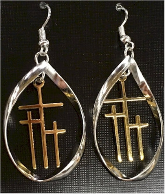 Infinity Necklace Hoop Earrings Twist Silver Gold Calvary 3 Crosses of Calvary Christian Religious Jewelry jewellery