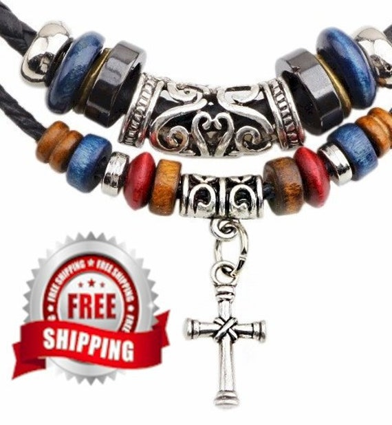 Boho 2 Strand Wood Bead Alloy Cross Charms Pendant Necklace For Women Men Christian Jewelry - Saint Michaels Jewelry - Calvary Three Cross