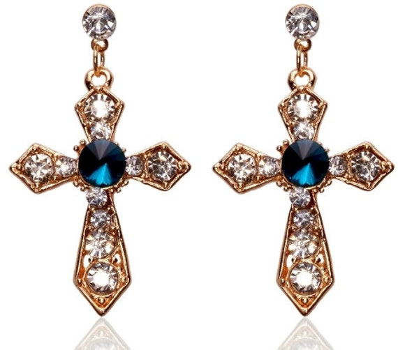 Gold Wedding Earrings and Necklace Rhinestone Studded Cross Pendant Set Earrings for Woman Girls Christian Jewelry jewellery