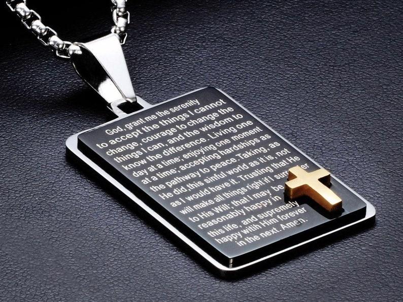 Heavy Black Full Serenity Prayer Necklace Dog Tag Inset Gold image 0
