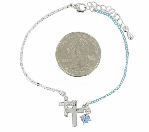 Dainty Cross Bracelet Silver Blue Rhinestone Double Cross 2 Color Chain Cuff Wrap Bangle Christian Jewelry jewellery