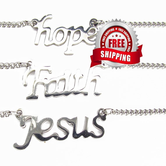 Hope Faith Jesus Necklace Silver Pendant Necklace Women Girls Christian Jewelry - Saint Michaels Jewelry - Calvary Three Cross