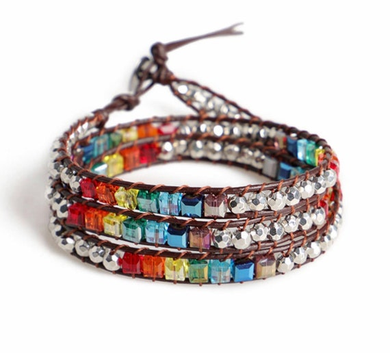 Yoga Bracelet Multi Color Wrap Silver Beads Yoga Shacra Colors Bangle Cuff Brown Leather Boho Hippie Bracelets for Women Men Girls