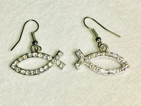 Rhinestone Fish Drop Dangle Earrings Hope Cross Stud Inlaid Crystals Wedding WOMEN Ichthus Ichthys ΙΧΘΥΣ Greek Fish Outline