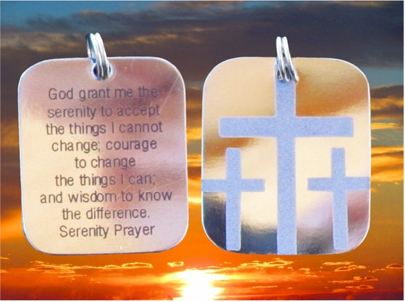Silver Serenity Prayer Calvary 3 Cross Necklace Pendant Mens Boys Christian Jewelry - Saint Michaels Jewelry - Calvary Three Cross