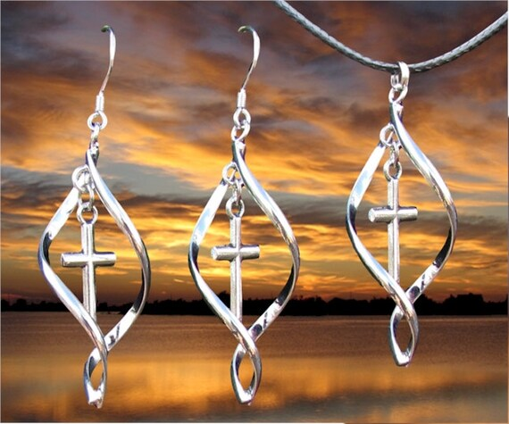 Silver Twist Cross Earring Necklace Pendant Set Women Girls Drop Dangle Christian Jewelry - Saint Michaels Jewelry