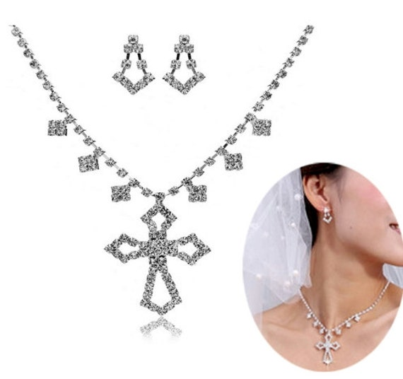 Cross Wedding Earrings and Necklace Set Vintage Elegant Crystal Style CZ Look Pendant Drop Dangle Women Wedding Accessories Jewellery