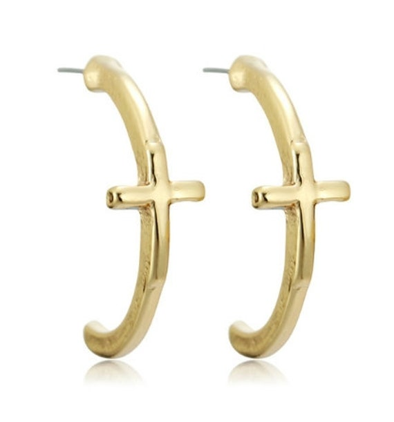 Half Hoop Stud Earrings with Set Off Classic Crosses Modern Womans Girls Christian Jewelry