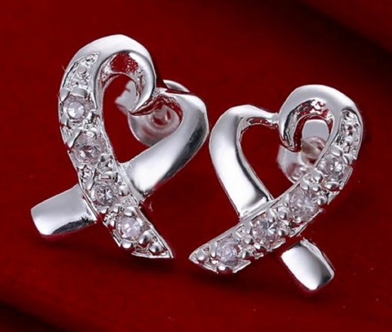 Beautiful Silver Rhinestone Heart Style Earrings