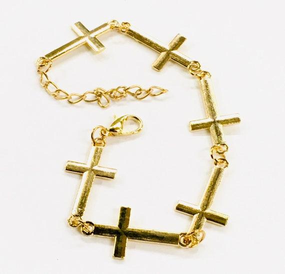 Gold Multi Sideways Cross Bracelet Bangle Woman Girls Meanings of the Horizontal Cross Christian Cross of Jesus Jewellery jewelry