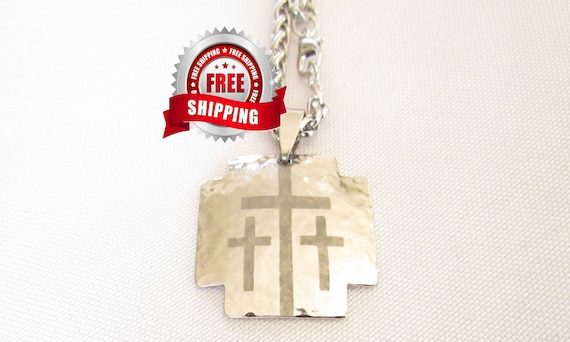 Silver Iron Calvary 3 Three Triple Cross Pendant Heavy Chain Necklace Hand Hammered Mens Boys Christian Jewelry Three Crosses on Calvary