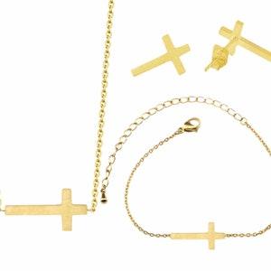 Sideways Cross Tiny Cross Chain Bracelet Necklace Earrings Small Crosses Chain for Women Girls Meaning of the Horizontal Cross Jewelry