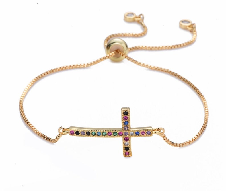 Rainbow Sideways Cross Bracelet rainbow cross bracelets image 0