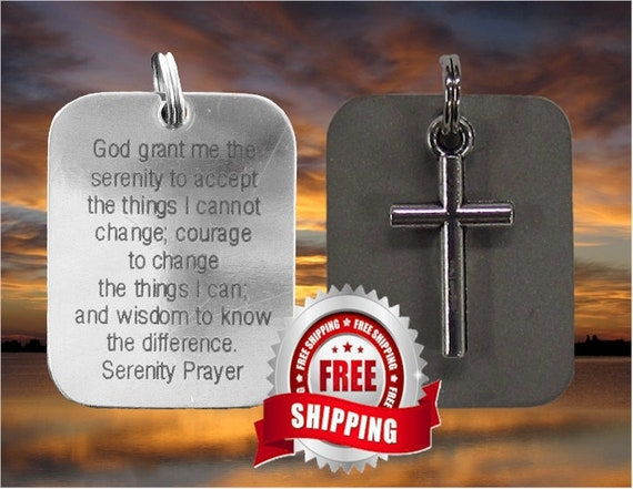 Silver Cross Serenity Prayer Necklace Pendant Two Piece DogTag Christian Jewelry - Saint Michaels Jewelry