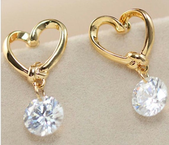 Gold Dainty Heart Zircon Cross Earrings