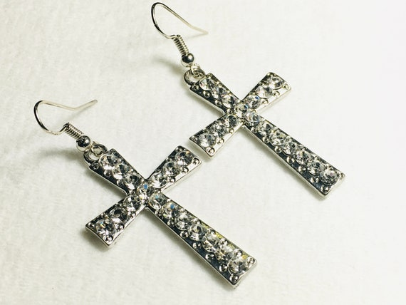 Silver Rhinestone Bohemian Vintage Punk Cross Drop Earring Inlaid Rhinestones Wedding WOMEN
