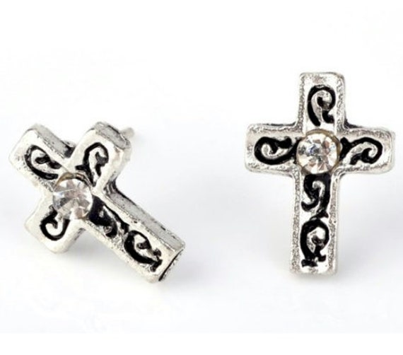 Antique Crystal Cross Stud Earrings Single Inlaid Rhinestone in Center Dainty Light Weight Design Cross Christ jewelry Women Girls jewellery