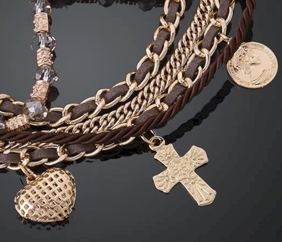 5 Strand Cross Bracelets Gold Brown Charms Cuff Wrap Bangle Bracelet Christian Jewelry jewellery