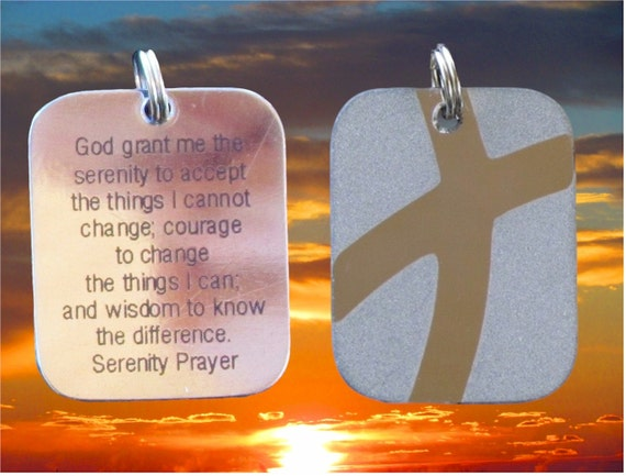 Silver Serenity Prayer DogTag Cross Crossed Roads Style Stainless Steel Pendant Necklace Women Men Boys Girls Christian Jewelry