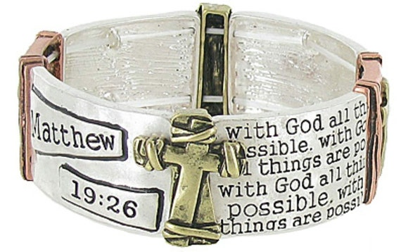 Matthew 19:26 Bracelets Stretch Cuff Wrap Bangle 3 Colors Gold Brass Christian Verse jewellery Jewelry