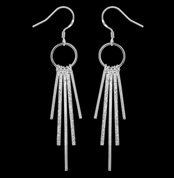 Silver Vertical Bar Dangle Earring and Necklace Round Bar Fashion Earring for Woman Necklace for Girls Jewelry jewellery
